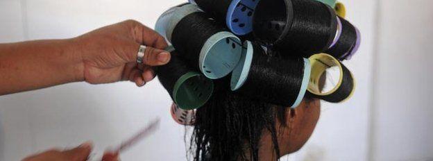 Hair in curlers