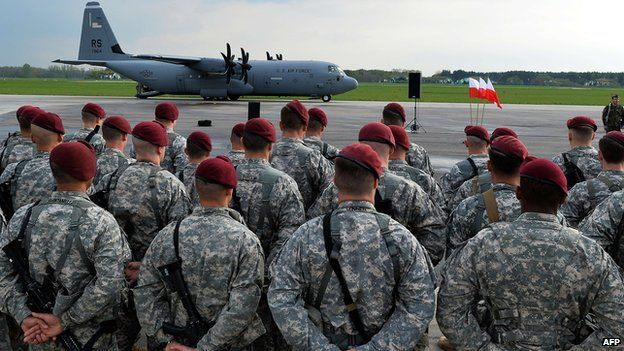 US troops arrive in Swidwin, Poland, on 23 April 2014