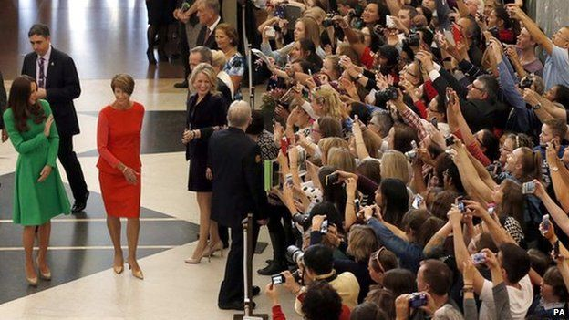 The Duchess of Cambridge arrives at the Parliament House in Canberra