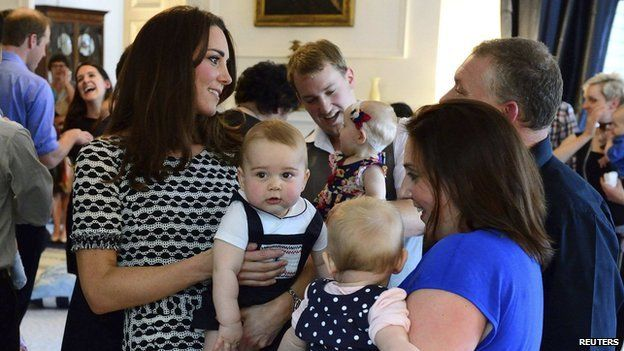 Catherine and Prince George chat to other parents at the group in New Zealand