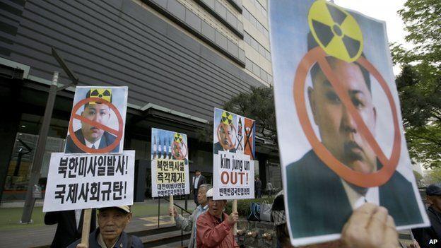 Protesta contra el programa nuclear de Corea del Norte en Seúl, Corea del Sur, en julio de 2014.
