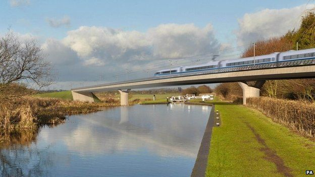Artist's impression of an HS2 train on the Birmingham and Fazeley viaduct