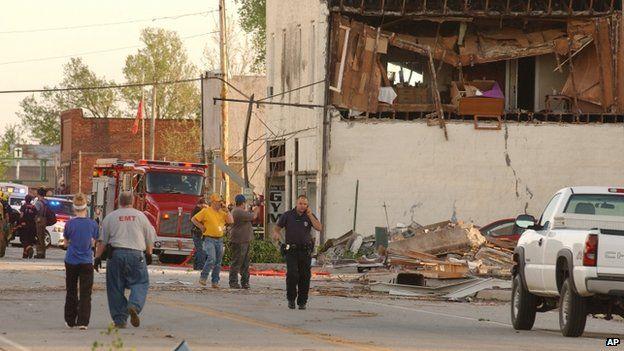 Damaged building in Main Street, Quapaw. 27 April 2014