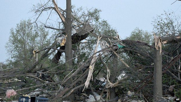 Twisted trees in Baxter Springs, Kansas. 27 April 2014