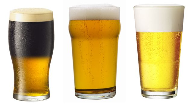 Three types of beer glass: The tulip, the nonic and the tumbler