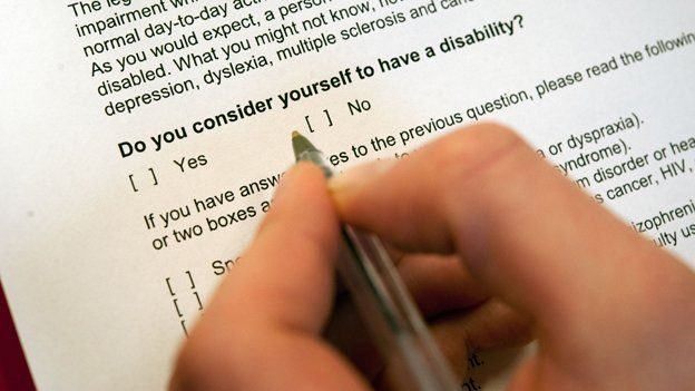 """A man's hand holds a pen hovering over a form, with the question """"Do you consider yourself to have a disability?"""""""