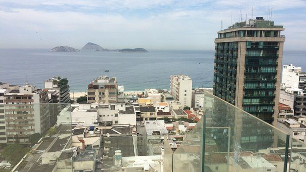 The view from a luxury penthouse rooftop in Rio