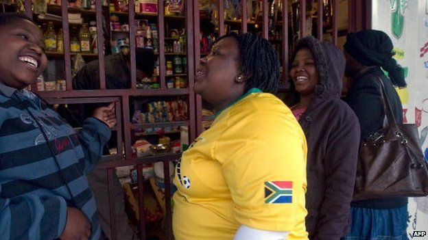 Spaza customers near Cape Town, South Africa in 2010