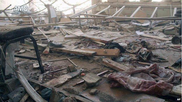 Photo from Aleppo Media Center showing damage to Ain Jalout school (30 April 2014)