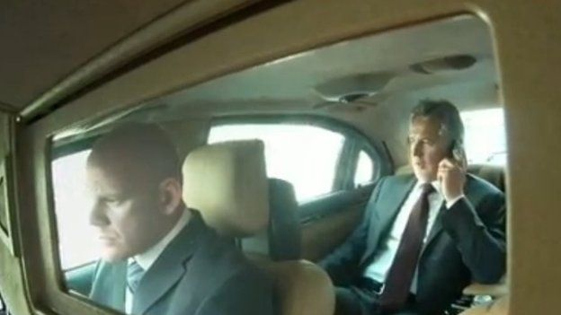 Dmytro Firtash in the back of his his chauffeur driven car in Vienna