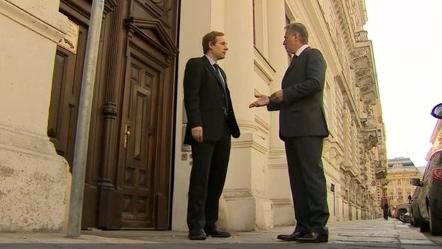 Dmytro Firtash (R) with the BBC's Richard Galpin in the spot in Vienna where he was was arrested by Austrian police at the behest of the FBI
