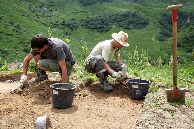 Archaeologists digging on a site in Germany