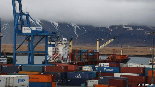 Shipping containers in the port of Reykjavik on 7 April 2014