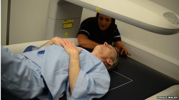Fergus Walsh in scanner