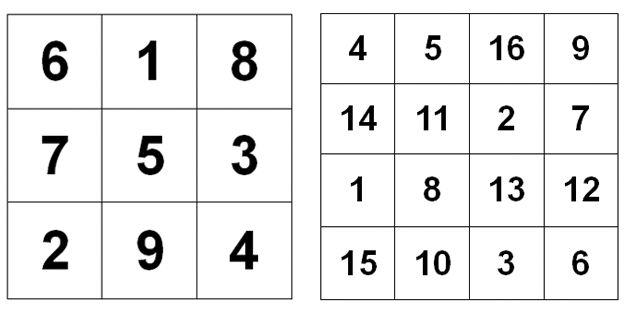 Two magic squares