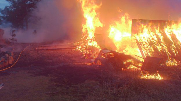 Fire service of northern Haelsingland photo of burning warehouse