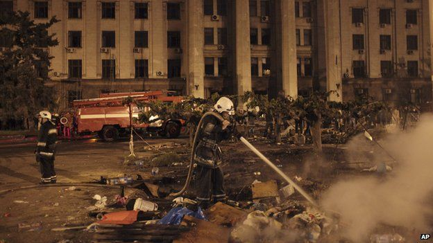 Firefighters outside Trade Unions House, Odessa, 2 May