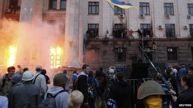 Fire at the Trade Unions House, Odessa, 2 May