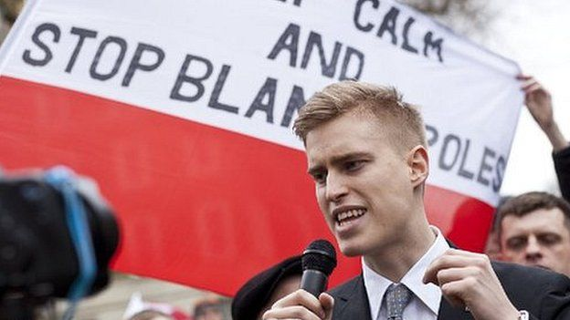 George Byczynski speaking at a demonstration in February