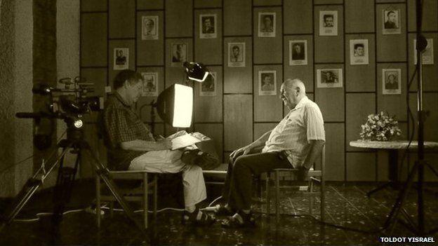 Nahman Raz, head of Israeli Noar Haoved youth movement in 1948, as he is interviewed