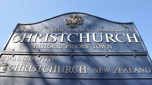 Sign welcoming visitors to Christchurch