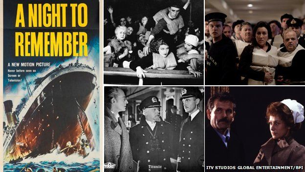 Composite of images from Titanic films: From right to left - A Night to Remember film poster (1958), Atlantic (1929), still from the ITV Titanic drama (2012), still from SOS Titanic (1979), still from so-called 'Nazi Titanic' (1943)