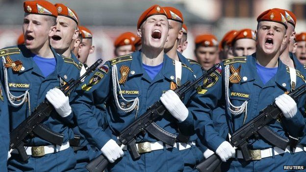 Russian servicemen march during the Victory Day parade in Moscow's Red Square May 9