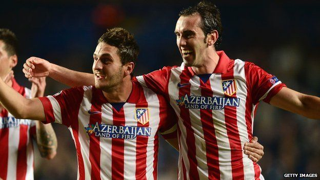 Atletico Madrid players on 30 April 2014