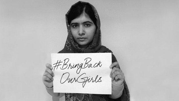 Pakistani activist Malala Yousafzai supports the #BringBackOurGirls campaign - 8 May 2014