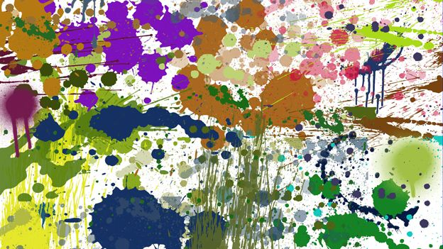 A series of paint splashes and blotches on a white background