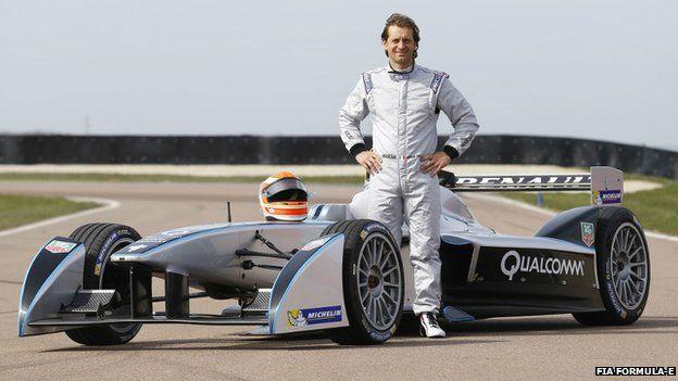 Jarno Trulli and Formula E racing car