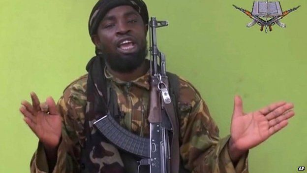 Boko Haram leader Abubakar Shekau speaking to the camera in a video the group released on 12 May 2014