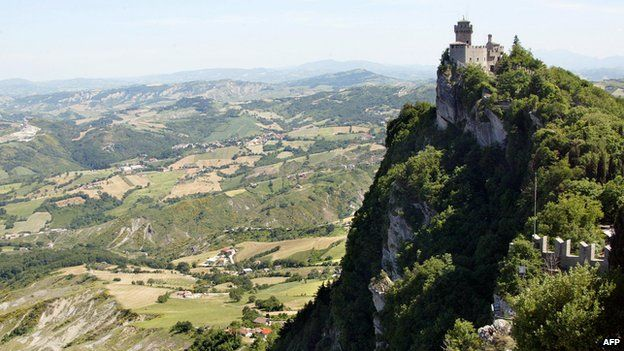 View dated 23 May 2003 of the Cesta, one of the three fortresses that dominate the skyline of the city of San Marino