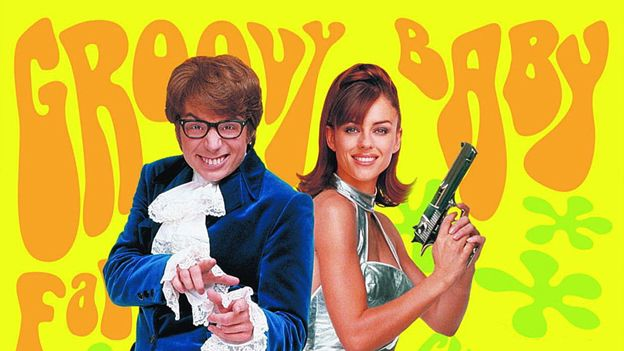 """Austin Powers poster bearing the words """"Groovy Baby"""""""