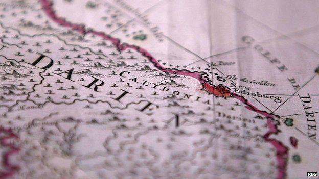 Old map showing New Edinburgh in Panama