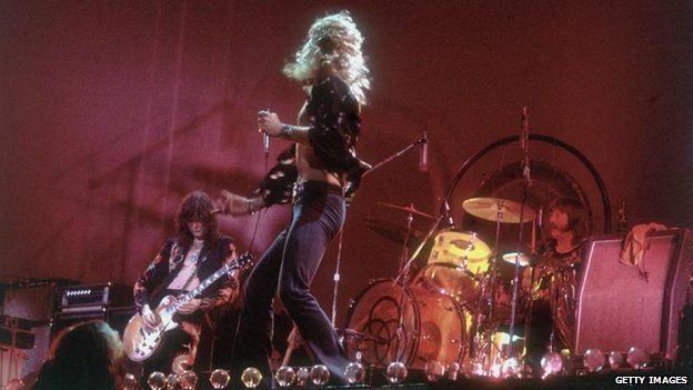 Rock group Led Zeppelin performing on stage in the 1970s