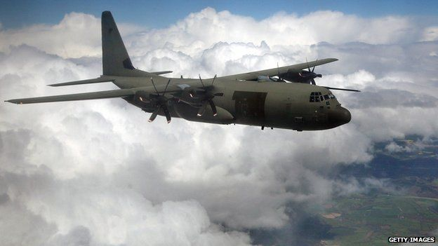 An RAF Hercules like the one taking part in the search