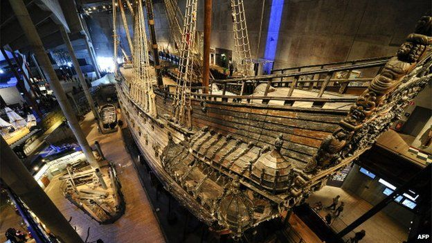 File photo: Swedish Royal warship Vasa on show at a museum in Stockholm on 24 April 2011