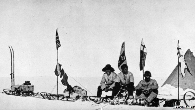 File photo: Robert Falcon Scott's sledge party, which reached the furthest southern latitude on his national Antarctic expedition, celebrating Christmas. Lieutenant Ernest Shackleton, left, Captain Robert Falcon Scott, centre, and Dr Edward Adrian Wilson, right. Photo published 1903