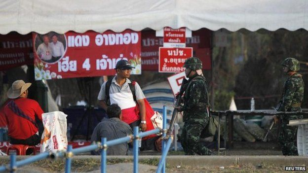 A pro-government protest camp in Nakhon Pathom province, 22 May