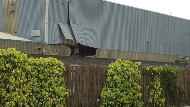 Damage was caused to a factory in Swansea which eyewitnesses say was struck by lightning