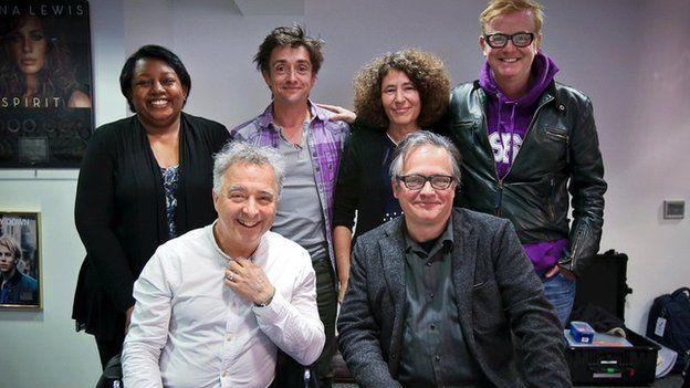 Clockwise from back left: Malorie Blackman, Richard Hammond, Francesca Simon, Chris Evans, Charlie Higson, Frank Cottrell Boyce
