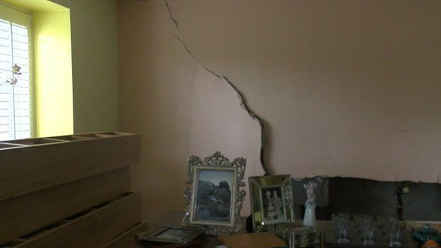 A huge crack was left in the wall after water came through a Penarth resident's home
