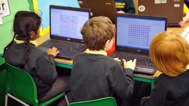 Primary school pupils using a computer