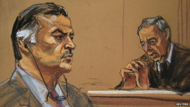 Drawing of Portillo's appearance in court