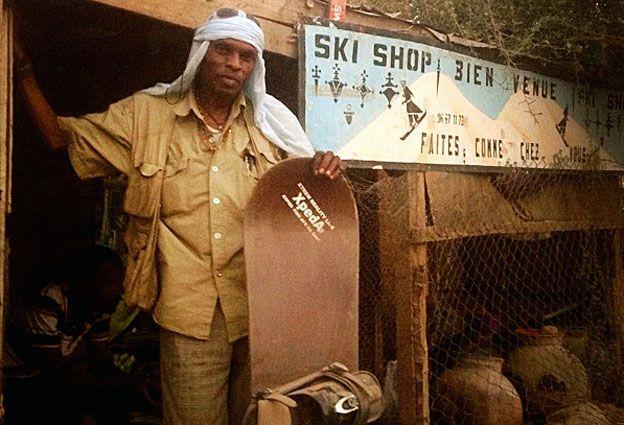 Abdelkader Baba outside his shop in Niger
