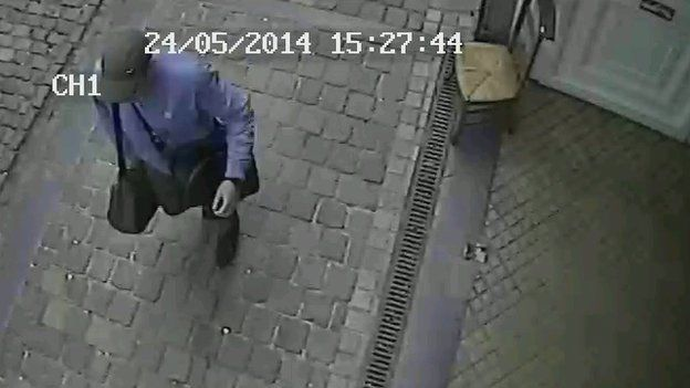 Screen grab from a CCTV video released by Belgian police