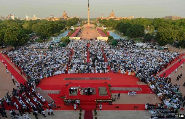 A general view of the swearing-in of Narendra Modi