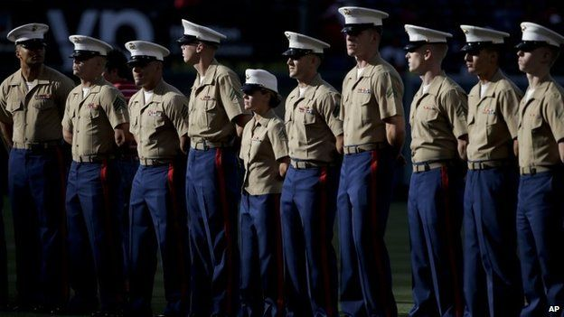 US Marines at Armed Forces Day before a baseball game between the Los Angeles Angels and the Tampa Bay Rays in Anaheim, California (17 May 2014)