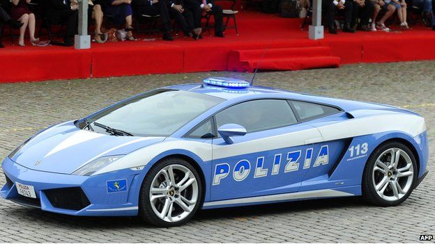 Lamborghini Gallardo sports car belonging to the Italian State Police at celebrations marking Belgian National Day in Brussels in July 2010